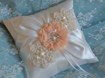 wedding photo - Shabby Chic Peach Wedding Ring Bearer Pillow, Ivory Ring Pillow, Venise Lace Wedding Ring Pillow, Chiffon Flowers and Rhinestone Ring Pillow