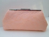 wedding photo - Peach Lace Clutch Purse with Silver Tone  Finish Snap Close Frame, Bridesmaid, Wedding, Victorian, Romance, Apricot Clutch, Bridal Clutch