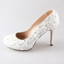 wedding photo - New Ivory lace pearl wedding shoes party shoes prom shoes closed toe pumps high heels