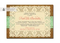 wedding photo - Lace Burlap Bridal Shower Invitation Mint Damask Shabby Chic Floral Rustic Doily Coral Brown FREE PRIORITY SHIPPING or DiY Printable - Faith