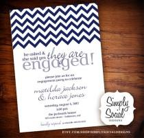 wedding photo - Chevron Engagement Party Invitation