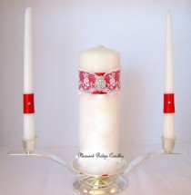 wedding photo - Unity Candle Set Red Unity Candle Bling Unity Candle Lace Unity Candle Rhinestone Unity Candle Wedding Unity Candle Unity Wedding Candle
