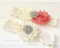 wedding photo - Coral Wedding Garter Set, Bridal Garter, Wedding Garter, Garter, Vintage Wedding, Lace Garter Set, Ivory Garter