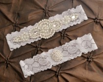 wedding photo - Wedding Garter Belt, Bridal Garter Set - Gray Lace Garter, Keepsake Garter, Toss Garter, Crystal Embellishment Gray, Gray Wedding Garter