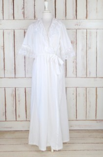 wedding photo - On Sale 15% off  - Vintage white cotton ruffle lace peignoir dressing gown/white lace lingerie/cotton lace robe/bridal robe
