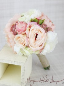 wedding photo - Silk Bridesmaid Bouquet Peony Peonies Roses Ranunculus Country Wedding Lace (Item Number 130111)