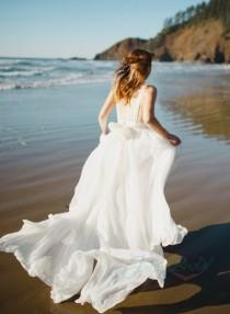 wedding photo - JOL261 sexy backless flowy airy chiffon beach boho wedding dress