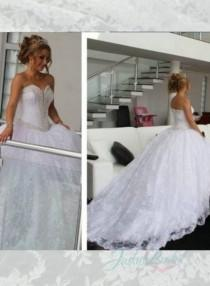 wedding photo - JOL236 beading trim sweetheart neck princess all lace ball gown wedding dress