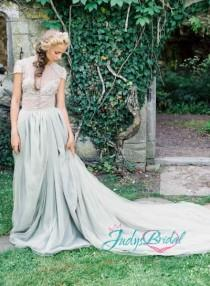 wedding photo - JOL215 Inspired vintage dusty blue tulle bridal wedding dress