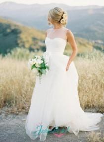 wedding photo - JOL213 Inspired sheer top lace and tulle skirt wedding dress