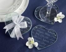 wedding photo - Heart Shaped Glass Coaster Favors