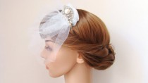 wedding photo - Bridal Veil, Half Face Wedding Veil, Alice Band Veil, Bridal Hair Piece