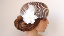 wedding photo - Bridal Cap Veil, 1920's Vintage Flower Bridal Veil, Wedding Hair Accessory, Bridal Vintage Cap