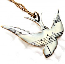 wedding photo - Unique Necklace, Song Bird Necklace, Music Note Necklace, Gifts for Her, Spring, Songbird Jewelry, Music Jewelry, Birthday, Friend