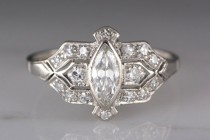 wedding photo - Antique 1920s Post Edwardian / Art Deco Platinum Engagement or Cocktail Ring with Marquise Cut Diamond R755