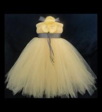 wedding photo - Flower Girl Dress, Little Girls Formal Dresses, Yellow and Grey Flower Girl Dress
