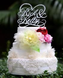 wedding photo - Wedding Cake Topper Monogram Mr and Mrs cake Topper Design Personalized with YOUR Last Name 030