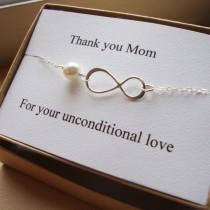 wedding photo - Thank You Mom Infinity  Bracelet - Mother of Bride or Groom, Eternity Bracelet, Wedding Special Gift, Jewelry Card Set