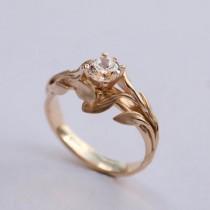 wedding photo - Leaves Engagement Ring No. 4 - 14K Gold and Diamond engagement ring, engagement ring, leaf ring, filigree, antique, art nouveau, vintage