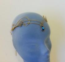 wedding photo - Medieval crown headpiece tiara fantasy wedding circlet forehead jewellery GOLD bermuda