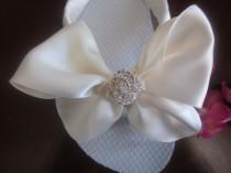 wedding photo - Wedding Shoes/Flip Flop/Wedges for Bride with REAL Swarovski Crystal  LOVEKNOT. Bride, Ivory Bow, Ivory Flip Flops. Beach Weddings.