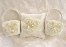 wedding photo - Two Flower Girl Baskets and Pillow -  Ivory Blossom  Ring Bearer Pillow, Flower Girl Basket Vintage CUSTOM COLORS