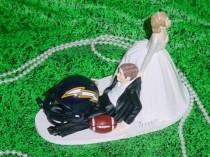 wedding photo - San Diego Charger Football funny Groom Fun Wedding Cake Topper NFL Sports Fan Lover Funny Weddings Mr Love Mrs Groom's Cake Idea decorations