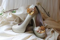 wedding photo - Wedding or Dress- Golden night, rolled rosette shoe clips