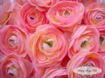 wedding photo - 2 pcs Light Pink Silky Soft Ranunculus Artificial Flower Heads Color 3.5in DIY Bouquets Arrangements Hair Clips Wedding