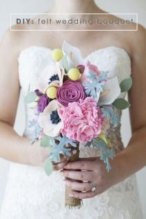 wedding photo - This Wedding Bouquet Is Made Out Of Felt Flowers - Learn How!