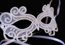 wedding photo - White  masquerade mask, white lace mask. wedding mask, bachelorette party mask, swan mask, peacock mask