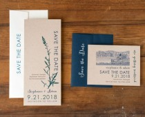 """wedding photo - Rustic Wedding Save The Dates, Navy And Emerald Green Save The Date, Farm/Barn Country Wedding - """"Rustic Navy"""" Save The Dates"""