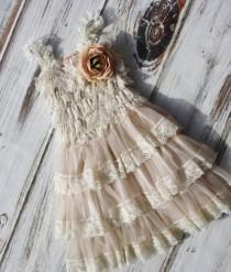 wedding photo - Rustic Flower Girl Dress- Flower Girl Dresses- Dress includes shades of Beige Flowers- Rustic Girls Dress- Baby Lace Dress-Junior Bridesmaid