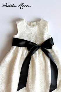 wedding photo - Lace Flower Girl dress with  sash and a bow,  Size XXS --L , Age 1- 24 month