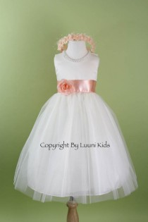wedding photo - Flower Girl Dress - WHITE Tulle Dress with PEACH Sash - Communion, Easter, Junior Bridesmaid, Wedding - From Baby to Teen (FGRPW)