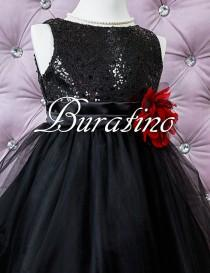 wedding photo - Flower Girl Dress, Sequin Dress, Sequin Girls Dress Flower Girl Special Occasion Girls Black dress (ets0155bl)
