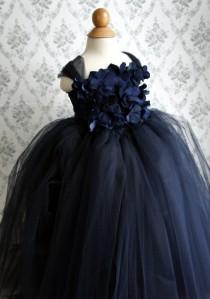 wedding photo - Flower girl dress Navy Blue tutu dress, flower top, baby tutu dress, toddler tutu dress