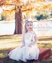 wedding photo - Ivory Rustic Flower girl dress flower lace HEADBAND and SASH Rustic Wedding