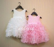 wedding photo - Pink Flower Girl Dress Pink Girl Dress Tulle Dress Wedding Toddler Dress Girl Dresses Birthday Dress Party Dress White Kids Children Dress