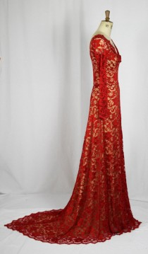 wedding photo - Baylis & Knight Red Nude Lace Twist TRAIN Princess Kate Middleton Long Sleeve MAXI Flared Skirt Low Cut Ball Gown Wedding Dress