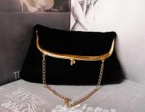 wedding photo - Black Velvet Clutch Vintage Evening Bag Vintage Purse Black Wedding