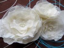 wedding photo - Bridal sash, wedding dress waist sash, bridal floral sash, bridal gown sash, vintage rustic bridal belt, ivory wedding dress belt