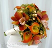 wedding photo - Wedding bouquet Orchid calla lily Bridal bouquet Sage green orange Silk wedding flowers