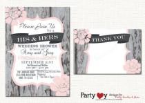 wedding photo - Couple's Wedding Shower Invitation, Couples Shower Invitation, His & Her Wedding Shower, Winter Wedding Shower, FREE Thank You Card