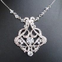 wedding photo - Vintage Bridal Necklace, Crystal Wedding Necklace, Art Deco Bridal Jewelry, Sterling Silver Chain, Wedding Jewelry, CRESSIDA