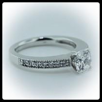 wedding photo - Moissanite Engagement Ring Diamond Side Stones 14k Gold  Ring Name Modern Milgrain