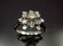 wedding photo - Diamond Snowflake Ring - Cluster Engagement Ring, Vintage 18k