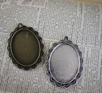 wedding photo - 6 Lace Oval Pendant Blank base Large Tray Vintage Style Lace Edge - 30mm x 40mm Oval Cameo Setting  - great for Bouquet Charm