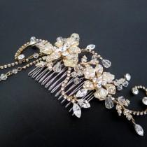 wedding photo - Gold Bridal hair comb, Wedding headpiece, Wedding hair comb, Gold hair accessory, Crystal hair comb