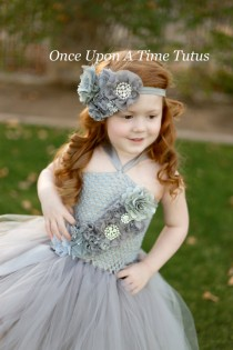 wedding photo - Gray Couture Satin & Shabby Flower Headband - Newborn Baby Grey Hairbow - Little Girls Hair Bow - Toddler Photo Prop - Silver OTT